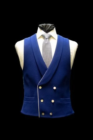 Electric blue twill wool double-breasted waistcoat with mother of pearl buttons