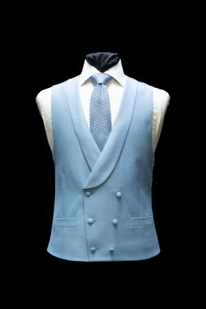 Sky blue twill silk and wool double-breasted waistcoat