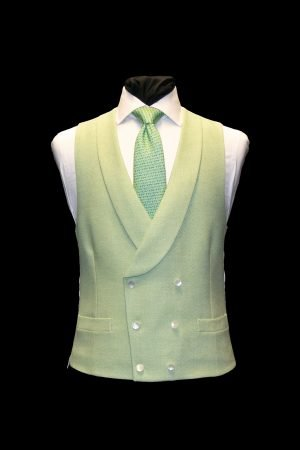 Green herringbone wool double-breasted waistcoat with pearl buttons