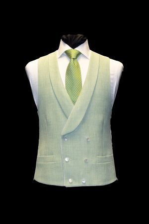 Green linen double-breasted waistcoat with piping and pearl buttons