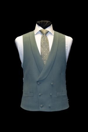 Khaki green cavalry twill double-breasted wool waistcoat