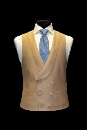 Beige basketweave silk and wool double-breasted waistcoat