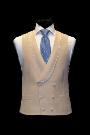 Beigh wool double-breasted waistcoat with piping