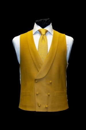 Mustard basketweave silk and wool double-breasted waistcoat