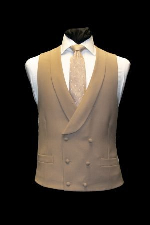 Buff beige wool double-breasted waistcoat