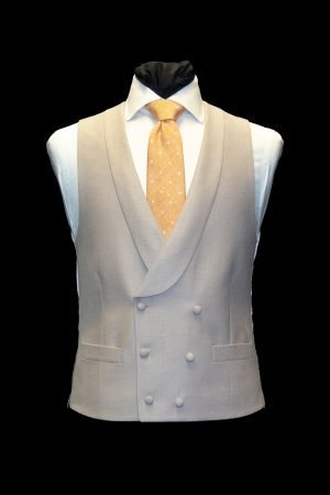 Beigh basketweave silk and wool double-breasted waistcoat