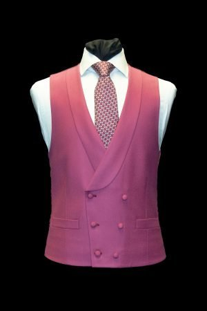 Raspberry wool double-breasted waistcoat