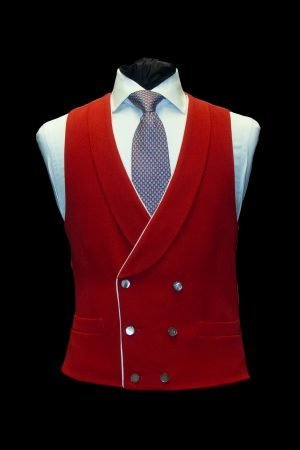 Red wool double-breasted waistcoat with piping and pearl buttons