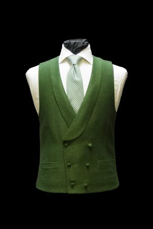 Moss Green twill silk and wool double-breasted waistcoat