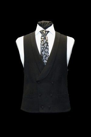 Black barathea double-breasted wool waistcoat