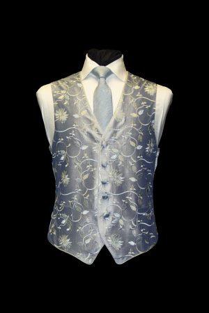 Silver silk embroidered waistcoat with blue and silver embroidery