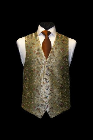 Green embroidered silk waistcoat with old gold embroidery