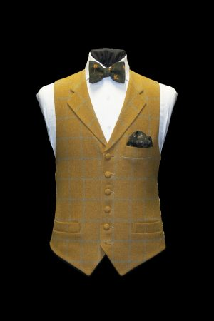 Mustard tweed wool waistcoat with lapels and light blue check