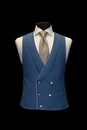 Moonshine blue double-breasted wool waistcoat with piping