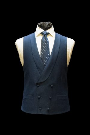 Midnight-blue twill silk and wool double-breasted waistcoat