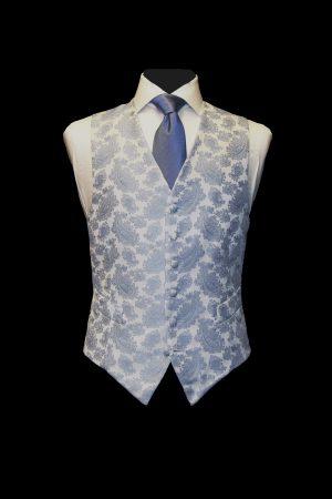 Sky blue jacquard paisley silk waistcoat