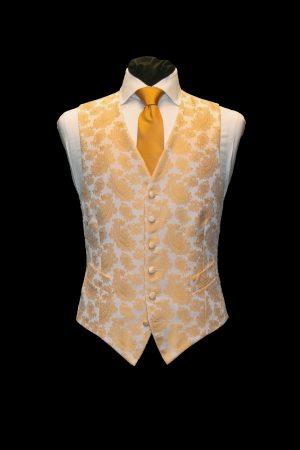 Amber gold silk paisley jacquard waistcoat