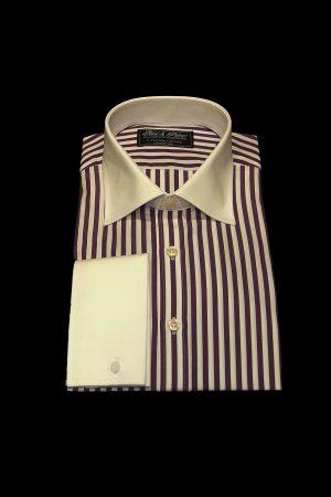 Purple stripe pure cotton white collar and cuff shirt