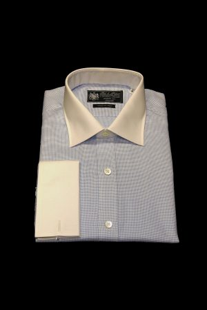 Light blue basket weave pure cotton white collar and cuff shirt