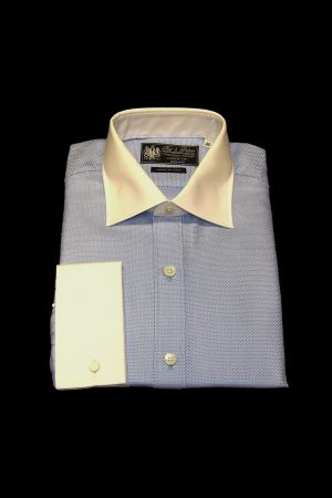 Blue basket weave pure cotton white collar and cuff shirt
