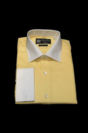 Lemon yellow twill pure cotton white collar and cuff shirt