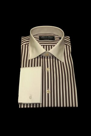 Chocolate brown stripe pure cotton white collar and cuff shirt