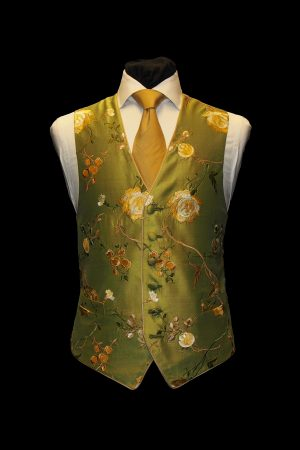 Green and gold floral embroidered six-button silk waistcoat