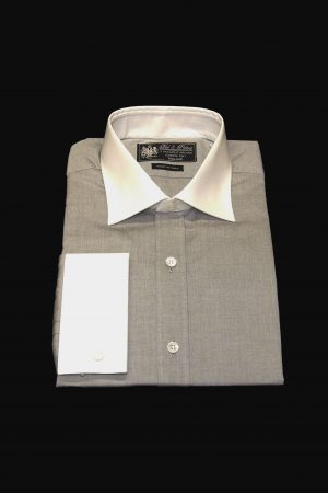 Silver grey pure cotton white collar and cuff shirt