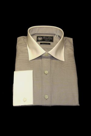 Grey basket weave pure cotton white collar and cuff shirt