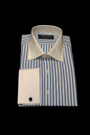 Sky blue stripe pure cotton white collar and cuff shirt