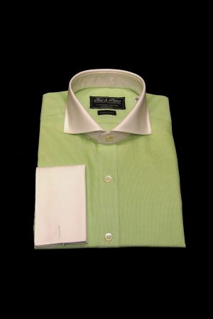 Lime green pure cotton white collar and cuff shirt