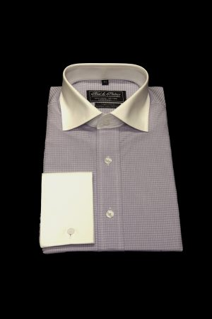 Lilac houndstooth pure cotton white collar and cuff shirt