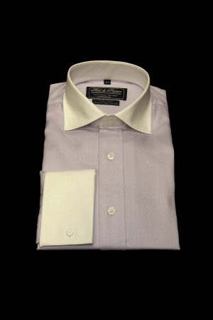 Light purple twill pure cotton white collar and cuff shirt