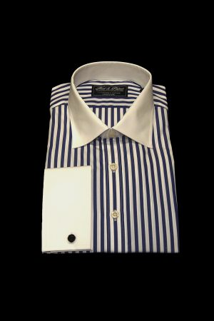 Blue stripe pure cotton white collar and cuff shirt