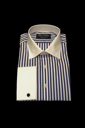 Blue stripe pure cotton white collar and cuff shirt