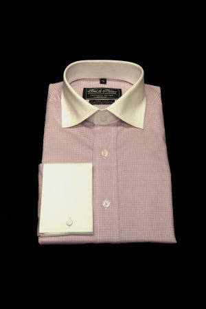 Pink houndstooth pure cotton white collar and cuff shirt