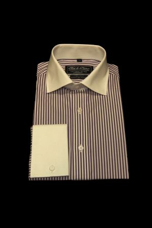 Purple narrow stripe pure cotton white collar and cuff shirt