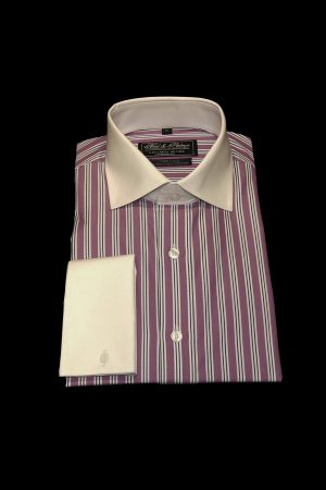Purple and navy stripe pure cotton white collar and cuff shirt