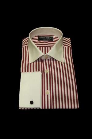 Red stripe pure cotton white collar and cuff shirt
