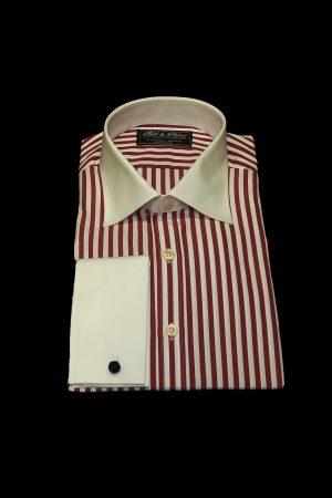 Red stripe pure cotton white collar and cuff shirt