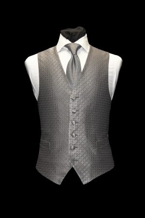 Silver and grey silk diamond lurex single-breasted silk waistcoat