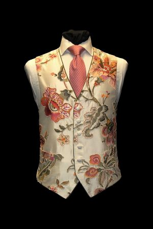 Ivory Pink and green silk embroidered large floral six-button waistcoat