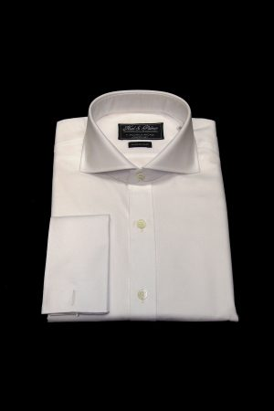 White two-fold superfine cotton shirt