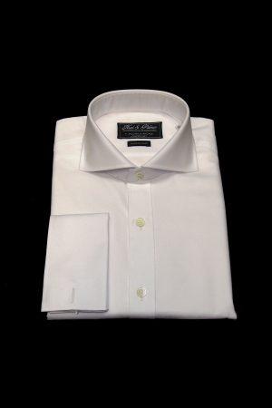 White two-fold superfine cotton shirt