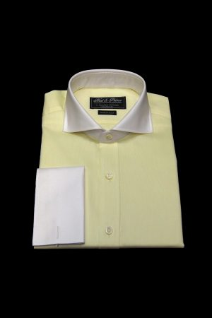 Corn yellow pure cotton white collar and cuff shirt