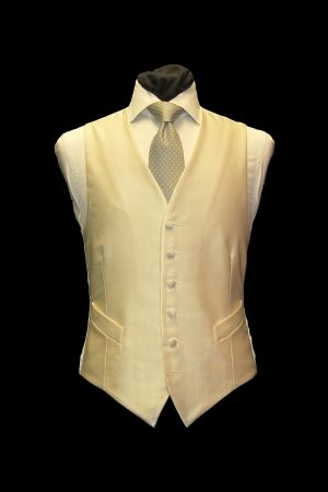 Ivory silk small basketweave single-breasted waistcoat
