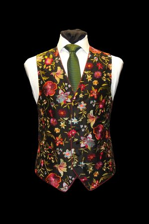 Black silk waistcoat with multicoloured embroidered flower