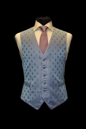 Pink and blue six-button silk jacquard bee waistcoat