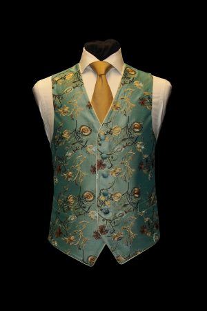 Turquoise and gold six-button silk floral embroidered waistcoat