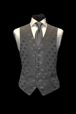 Grey on grey silk jacquard waistcoat with elephants